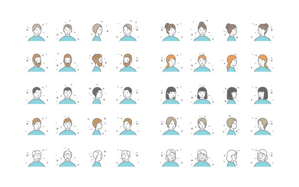 人アバター コレクション ベクトル。デフォルトの文字のアバター。漫画の線画イラスト - 笑顔 女性点のイラスト素材/クリップアート素材/マンガ素材/アイコン素材