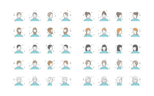 People Avatars Collection Vector. Default Characters Avatar. Cartoon Line Art Illustration People Avatars Collection Vector. Default Characters Avatar. Line Art Isolated Illustration looking at camera stock illustrations