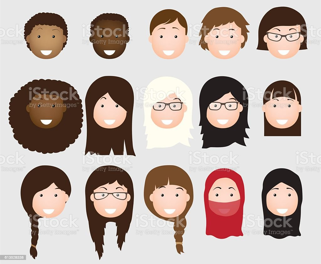 People avatars collection vector art illustration