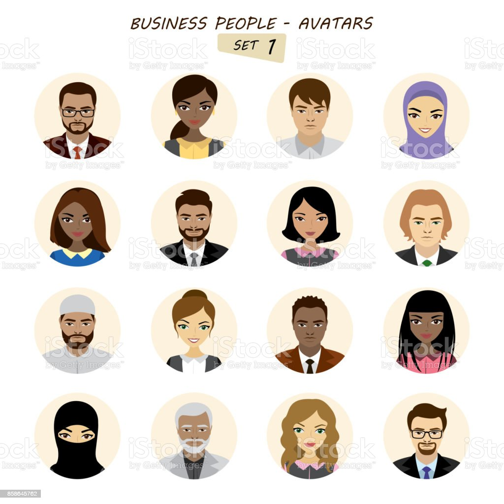 People avatars collection,busines man and business woman vector art illustration