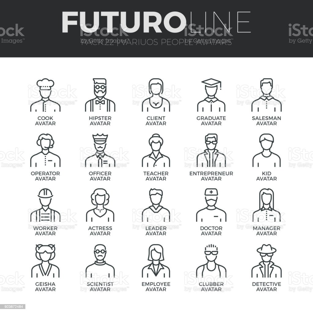 Personer avatarer Futuro linje ikoner Set - Royaltyfri Affärsman vektorgrafik