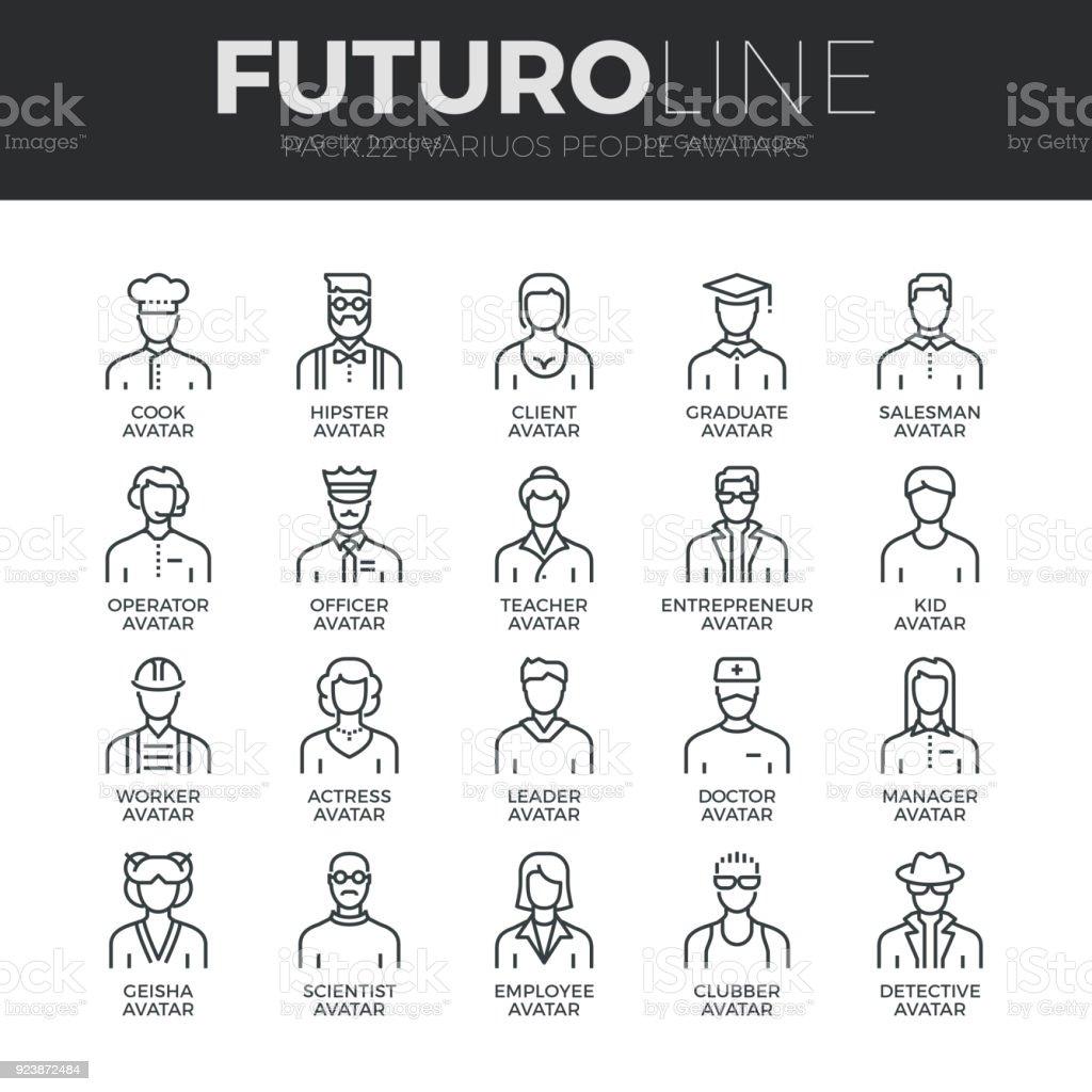 Menschen Avatare Futuro Linie Icons Set – Vektorgrafik