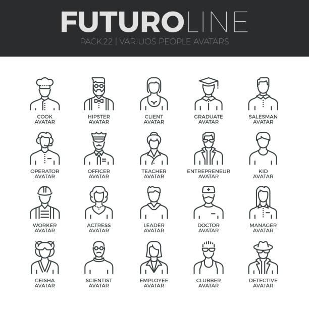 ilustrações de stock, clip art, desenhos animados e ícones de people avatars futuro line icons set - crianças todas diferentes