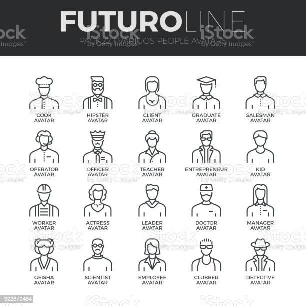 Personer Avatarer Futuro Linje Ikoner Set-vektorgrafik och fler bilder på Affärsman