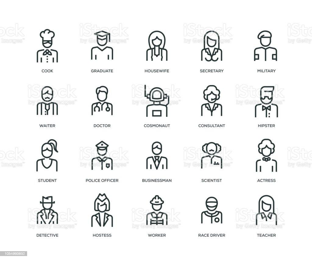 De pictogrammen van de Avatars van mensen - Line serie - Royalty-free Avatar vectorkunst
