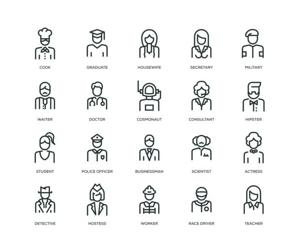 People Avatars Icons - Line Series People, Avatars, Characters and Staff Icons suit stock illustrations