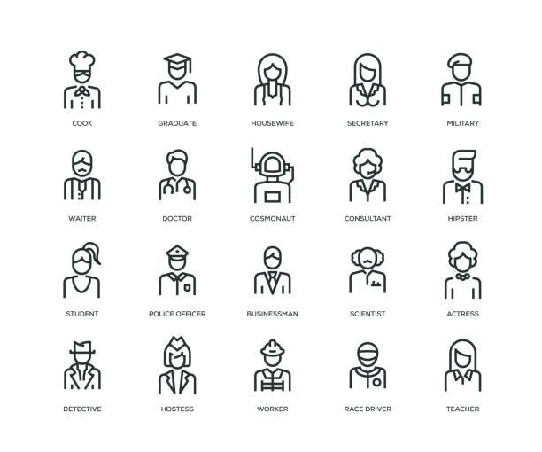 stockillustraties, clipart, cartoons en iconen met de pictogrammen van de avatars van mensen - line serie - pak