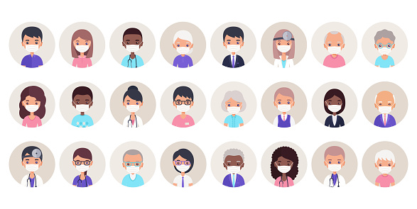 People avatars in medical masks. Vector illustration. Faces icons in flat design.