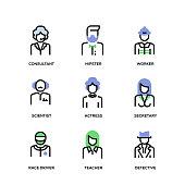 People Avatars Line Icon Set