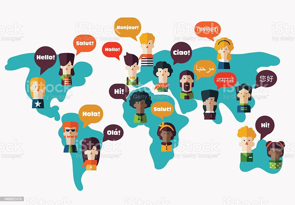 People avatars on World map. Speech bubbles in different languages vector art illustration