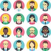 People avatars set. Flat design people icons set. Vector icons