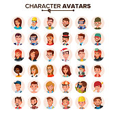 People Avatars Set Vector. Face, Emotions. Default Characters Avatar Placeholder Collection. Cartoon, Comic Art Flat Isolated Illustration