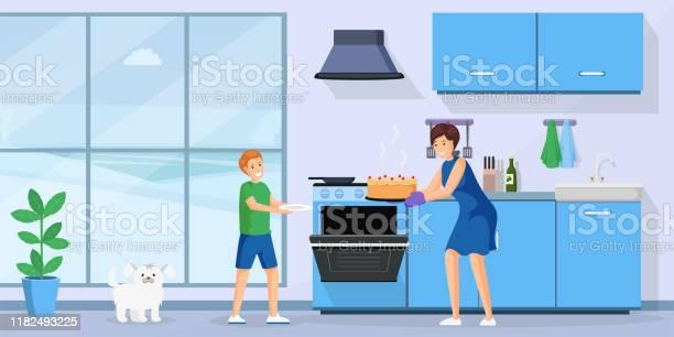 People baking cake flat vector illustration smiling woman and little vector id1182493225?b=1&k=6&m=1182493225&s=612x612&h=xa g81wlmktn06wp1rmdwpoivhnowir0lj3onczfws0=