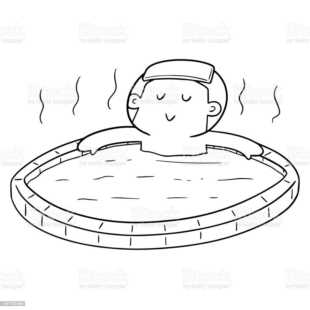 People Bathing In Hot Water Pool Royalty Free Stock