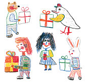 Creative crayon drawing of people and animals with gifts. Concept of kindness, giving, joy of giving and to treat somebody