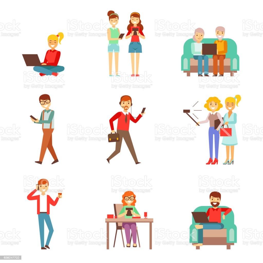 People Being Obsessed With Gadgets Set Of Illustrations vector art illustration