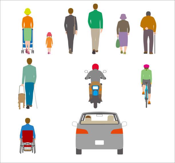 ilustrações de stock, clip art, desenhos animados e ícones de people, bicycles, automobiles. illustration seen from the back - somente japonês
