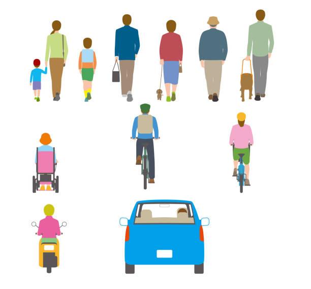 illustrazioni stock, clip art, cartoni animati e icone di tendenza di people, bicycles, automobiles. illustration seen from the back - solo giapponesi