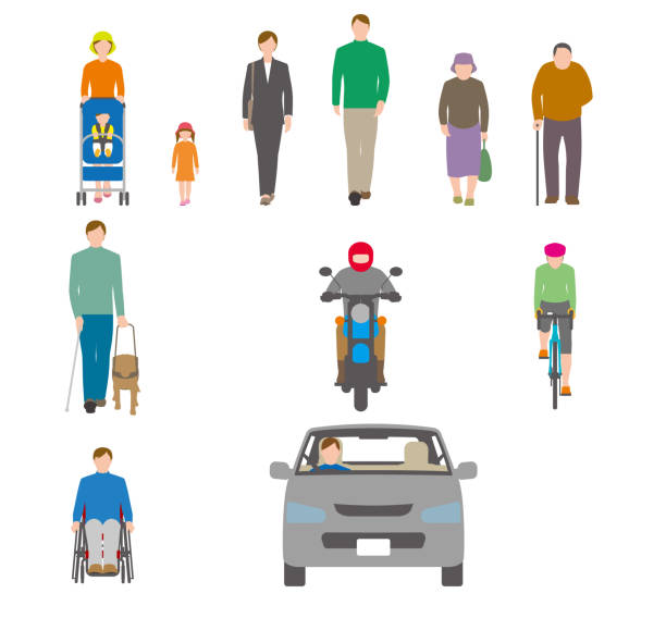 illustrazioni stock, clip art, cartoni animati e icone di tendenza di people, bicycles, automobiles. illustration seen from the front. - solo giapponesi
