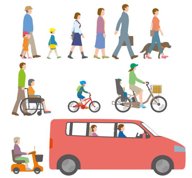 stockillustraties, clipart, cartoons en iconen met mensen, fietsen, auto's. illustratie gezien vanaf de zijkant. - alleen japans