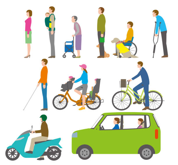 People, bicycles, automobiles. Illustration seen from the side. People, traffic lateral surface stock illustrations