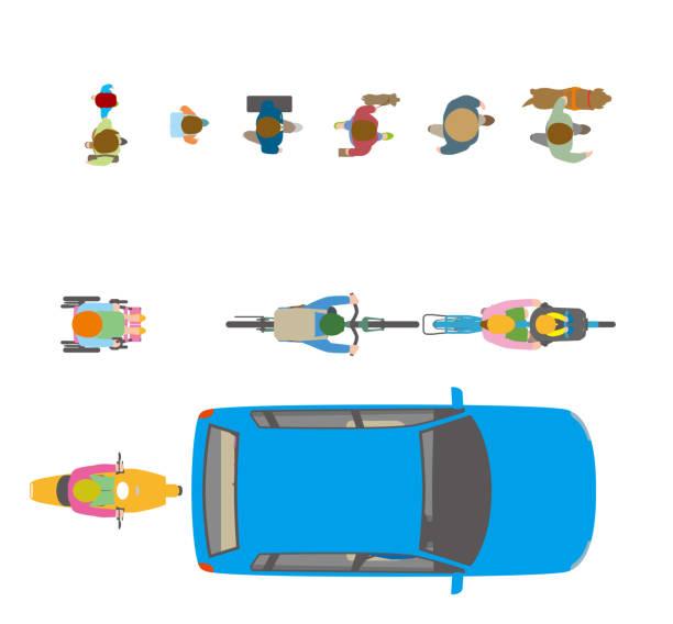 illustrazioni stock, clip art, cartoni animati e icone di tendenza di people, bicycles, automobiles. illustration seen from the top. - solo giapponesi