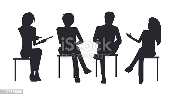 istock People Black Silhouettes at Business Training Sit 1277376689
