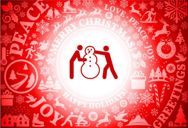 menschen bauen einen schneemann rot weihnachten urlaub hintergrund - karotte peace stock-grafiken, -clipart, -cartoons und -symbole