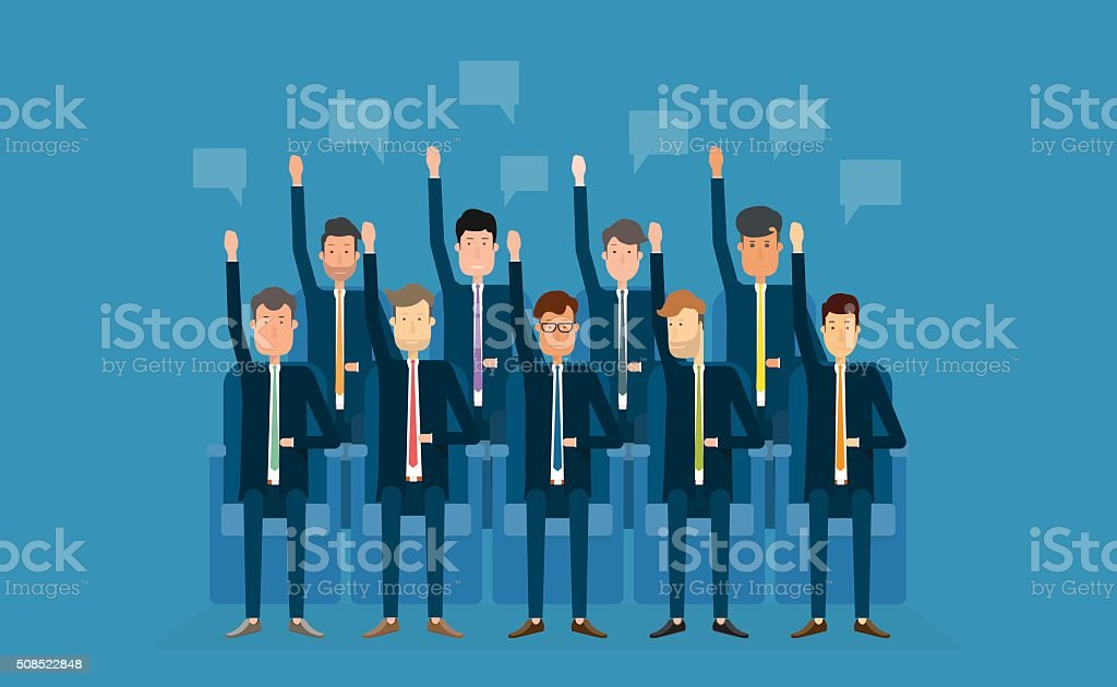 people busines vote.business team.business meeting.cartoon character vector art illustration
