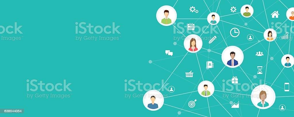people business connection on social network online - ilustração de arte em vetor