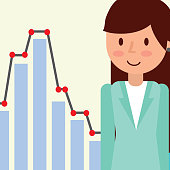 businesswoman portrait cartoon statistic diagram vector illustration