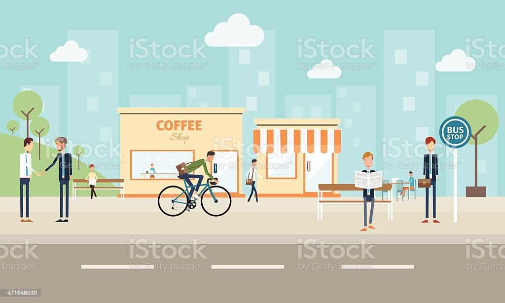 people business on city. and social commucation background vector art illustration