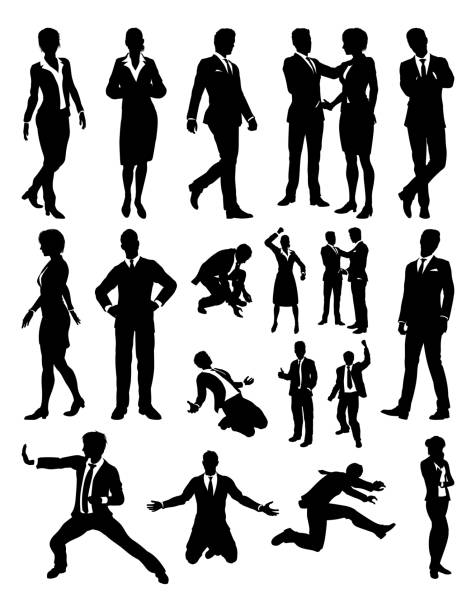 People Business Silhouettes A business people silhouettes set suit stock illustrations