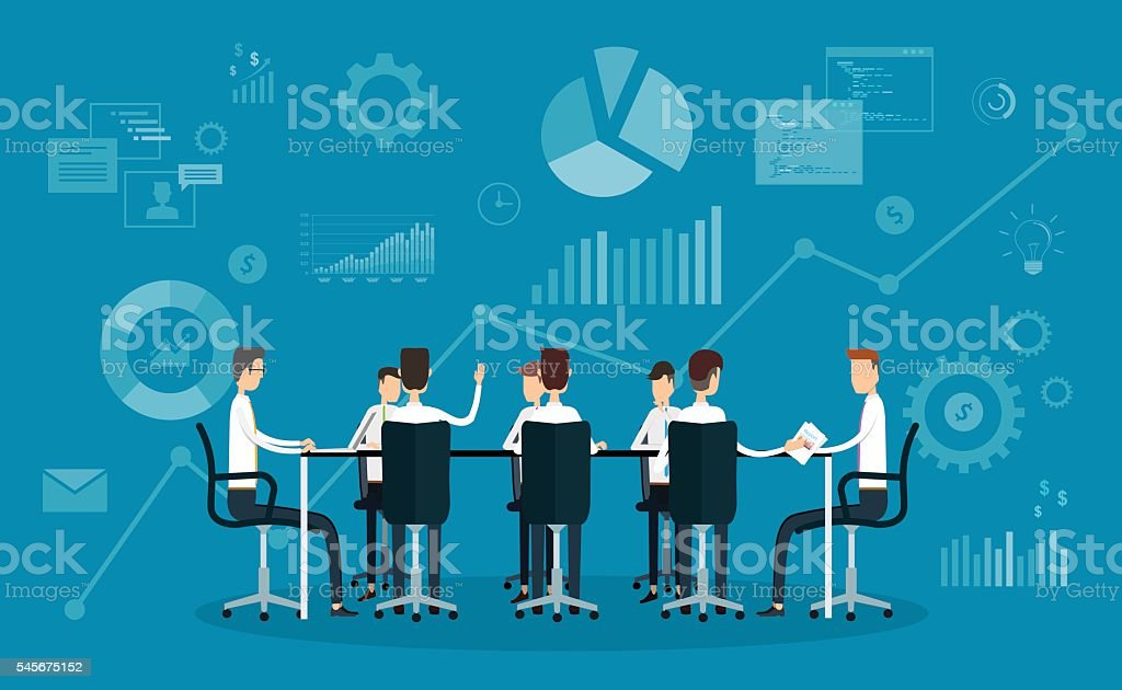 people business team working meeting and brainstorm vector art illustration