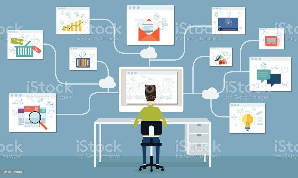 Ilustración de Gente De Negocios Trabajando A Internet De Alta ...