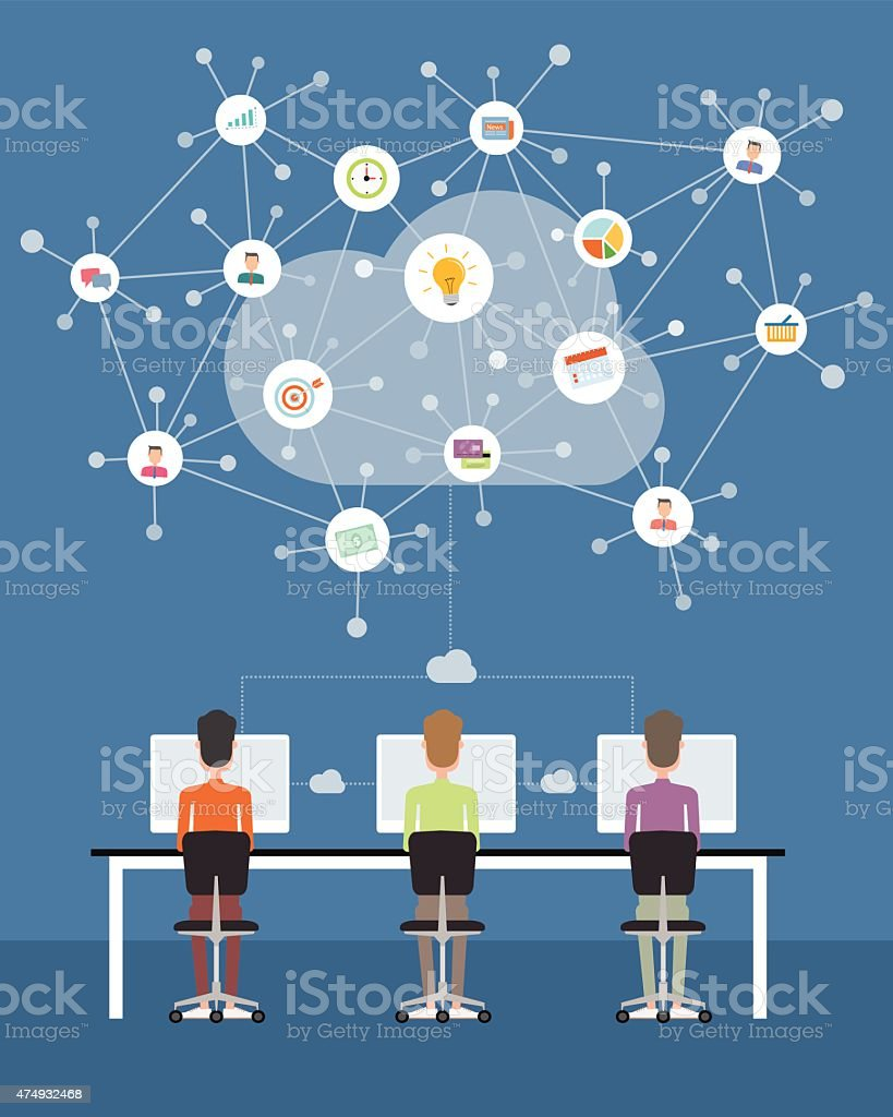 People business working on cloud network connection vector art illustration