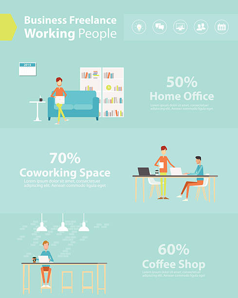 people business working style .flat cartoon character - working from home stock illustrations