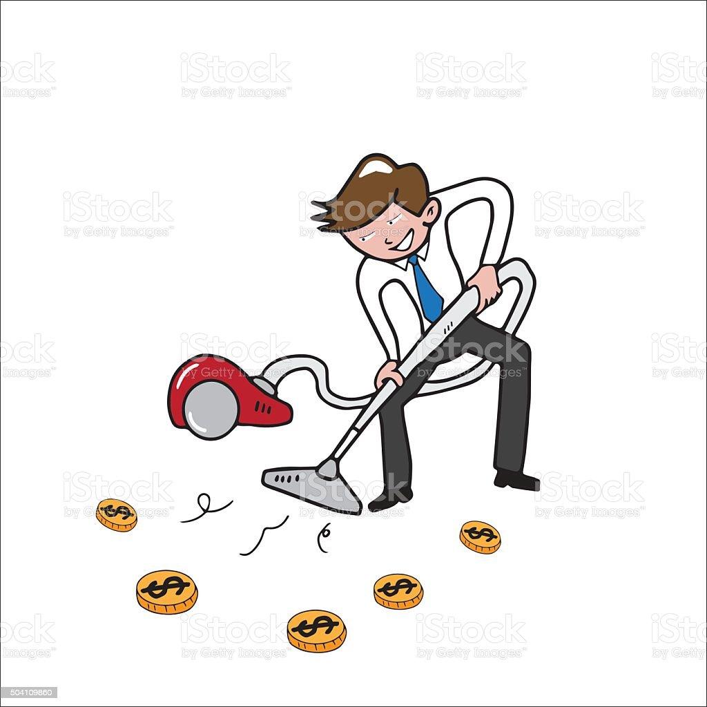 People Businessman vacuum money vector art illustration