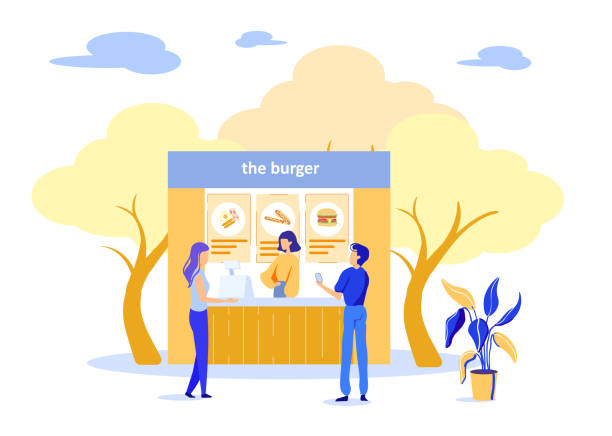 People Buying Burgers at Street Fast Food Cafe Cartoon People Characters Buying Burgers at Street Fast Food Cafe. Couple in Love Visiting Ready Takeaway Meal Shop Market in Park. Friendly Saleswoman Serving Customers. Vector Flat Illustration female sandwich stock illustrations