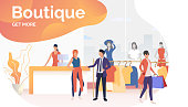 People buying clothes and carrying shopping bags in boutique. Fashion outlet, boutique concept. Poster or landing template. Vector illustration for topics like business, shopping, sale