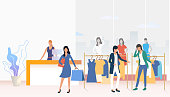 People buying clothes and carrying shopping bags in shop. Fashion outlet, boutique concept. Vector illustration can be used for topics like business, shopping, sale