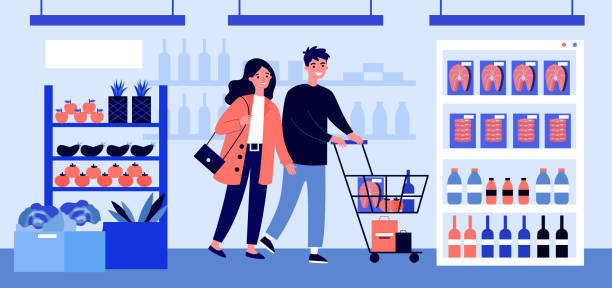 illustrazioni stock, clip art, cartoni animati e icone di tendenza di people buying food at supermarket flat vector illustration - mercato frutta donna