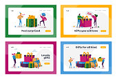 People Buying Presents for Family and Friends on Holidays Landing Page Template Set. Happy Characters Carry Wrapped Gift Boxes Put in Huge Gifts Pile Prepare for Christmas. Cartoon Vector Illustration