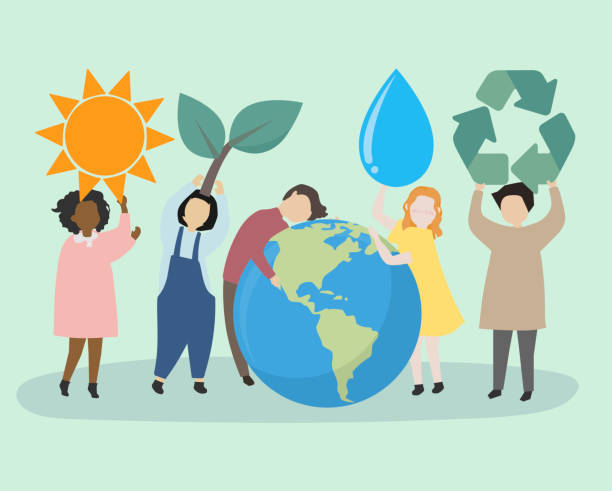 People caring about the world and the environment People caring about the world and the environment earth day stock illustrations