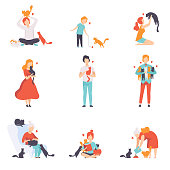 People caring, feeding and playing with their cats set, adorable pets and their owners vector Illustration isolated on a white background.