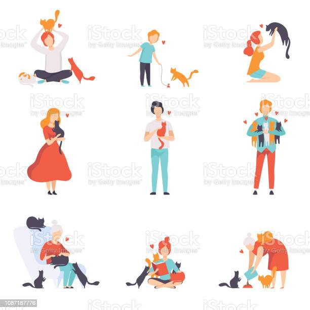 People caring feeding and playing with their cats set adorable pets vector id1087187776?b=1&k=6&m=1087187776&s=612x612&h= e2hc2p2wx4ie19k2qm4pnyak4ibwy4nayksmcbm9ms=