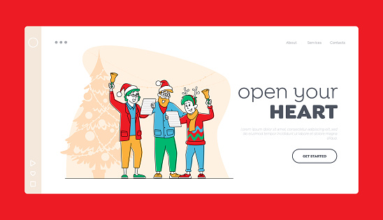 People Caroling at Xmas Night Landing Page Template. Happy Family Characters Wear Festive Hats Singing Christmas Songs