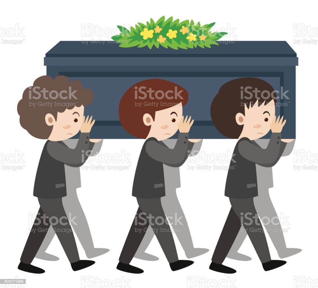 People carry coffin on sholders at funeral vector art illustration