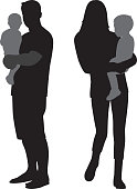 Vector silhouettes of people carrying babies silhouettes.