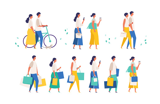 People carrying shopping bags at summer. Man and woman taking part in seasonal sale at store, shop, mall.